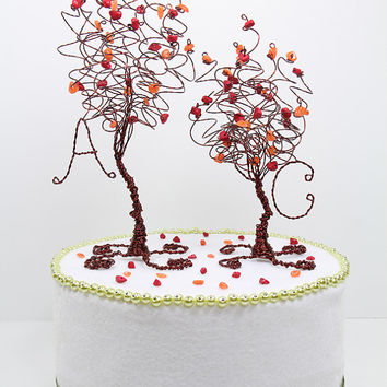 Fall Wedding Two Trees Cake Topper Custom in Any Colors