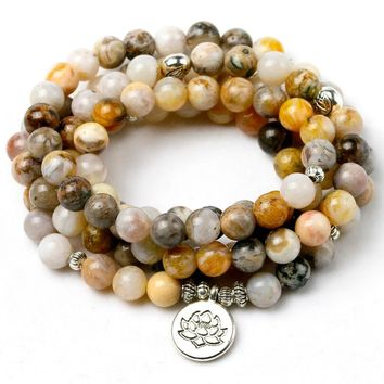 456c444fce55ac 8MM Bamboo leaves Onyx Natural Stone Mala 108 Prayer Beads Neckl