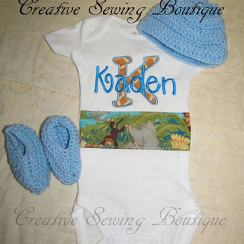 Custom Handmade jungle babies Onesuit / body suit you choose name and crocheted hat and booties