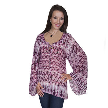 Scully Womens Gathered Neckline Long Sleeve Wide Armed Fuchsia Blouse
