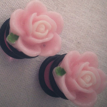 Pretty Pink Flower 00g 10mm Plugs Gauged Studs pastel Flower Plugs Decora body piercings Gyaru