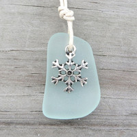 Pale Aqua Snowflake Sea Glass Necklace by Wave of Life