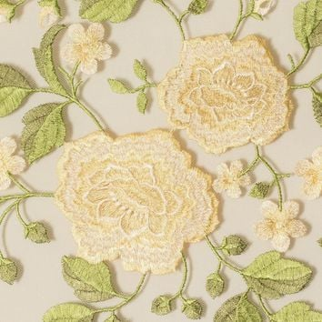 Embroidered Lace Medium Flower Scalloped Edges Fabric