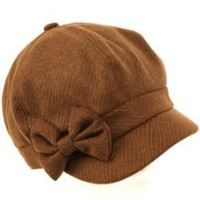 Get Ladies Winter Fall 6 Panel sboy Gatsby Cabbie Driver Ribbon Bow Cap Hat Brown at Best Buy Shop