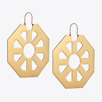 Tory Burch Geo Hoop Earring