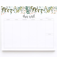 Weekly Planner Notepad, Illustrated Weekly Desk Notepad, Mousepad Planner Notepad | Garden Wreath Collection