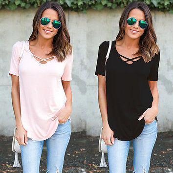 2017 Woman Clothing Fashion Womens Sexy Loose Short Sleeve V-Neck Cotton Ladies Casual Cotton Tops T-Shirt