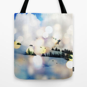 Magic in The Snow #society6 Decor #home #buyart #landscape #lifestyle #fashion Tote Bag by 83oranges.com | Society6