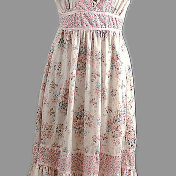 Boho Pink Wild Flowers Cotton Sun Dress Vintage 1970's Just In