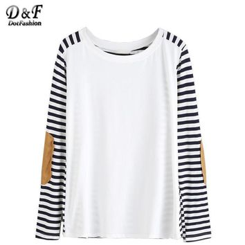 Clothes Women Shirt Famous Women Long Sleeve T Shirt Fall T Shirts Elbow Patch Striped T-shirt