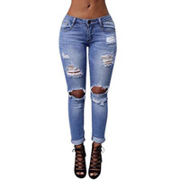 Women's High Waist Skinny Denim Jeans Slim Ripped Pencil Jeans
