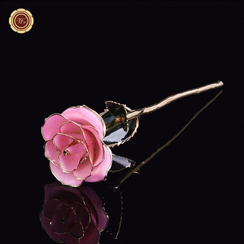 Wr Romantic Wedding Gifts 24k Gold Dipped Long Stem Light Pink Rose Valentine's Day Flower /w Free Box Home Office Decor 29x7cm