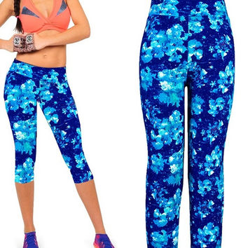 Fashion Women Sexy Skinny Stretch High Waisted Floral Printing Yoga Pants Capri Leggings = 1932107844
