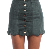 Faux Suede Button Scallop Skirt