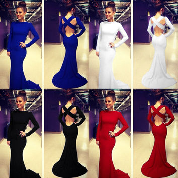 Women Long Sleeve Prom Ball Cocktail Party Dress Formal Evening Gown Mermaid
