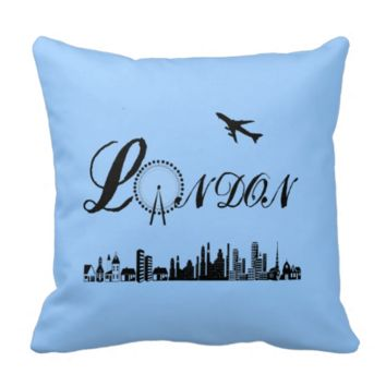 London Eye British Theme Blue Pillow/Cushion