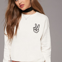 Fleece Peace Sign Sweater