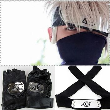 Japan Anime Naruto Hatake Kakashi Cosplay Face Mask Headband Gloves Party Halloween Props Accessories