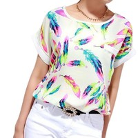 Tonsee Feathers Chiffon Blouse Top Casual Loose T-Shirt