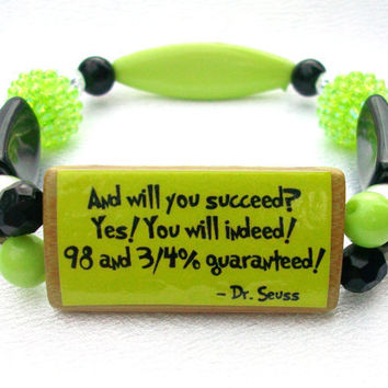 Dr Seuss Bamboo Tile Colorful Bead Bracelet by thebagladyboutique1