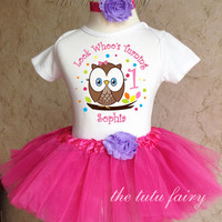 Brown Owl Rainbow dots 1st 2nd Birthday Personalized Name Age Shirt Pink Tutu Set outfit girl 6 12 18 24 months Baby Toddler Headband