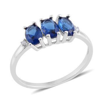 Simulated Blue Sapphire, Simulated Diamond Sterling Silver Ring TGW 1.07 cts