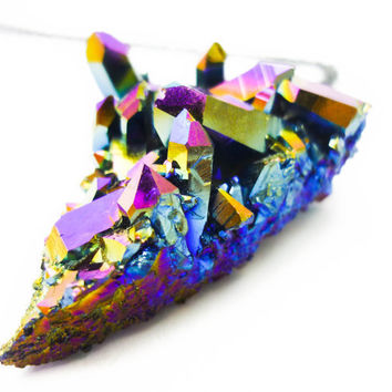 Titanium Quartz Rainbow Aura Crystal Cluster Druzy Necklace