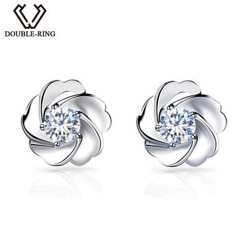 DOUBLE-R New Fine Jewelry 18K Flower Earrings White Gold 0.1ct Real Diamond Women stud Earrings Customized 11.11 CAE00548A