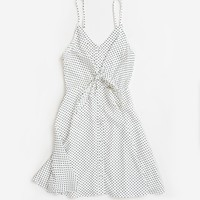 Carly White Polka Dot Cutout Dress