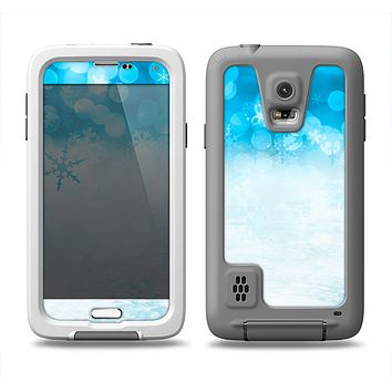 The Winter Blue Abstract Unfocused Samsung Galaxy S5 LifeProof Fre Case Skin Set