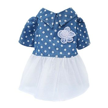 Newly Summer Puppy Pet Lace Dress Small Dog Cat Tutu Princess Skirt Puff Sleeves Casual Mesh Dresses Clothes