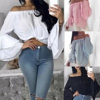 Long Sleeve Chiffon Summer Women's Fashion Tops [22466134042]