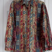 Vintage Southwestern Blouse Earthtone Print Shirt Womens Large L Rust Turquoise Tan Tribal Southwestern Top