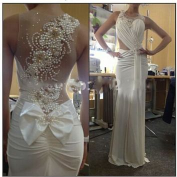 Sexy Scoop Neckline A-Line White Prom Dresses 2015 vestido de formatura longo See Through Back Pearl Evening Party Gowns
