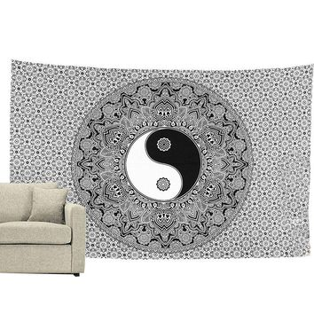 Chinese Yin ang Yang Bohemian Wall Hanging Tapestry Hippie Wall Hanging Bedspread Beach Towel Mat Blanket Table Cloth 150*200cm