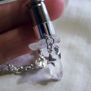 Quartz Crystal with Silver Stars Bullet Jewelry Pendant