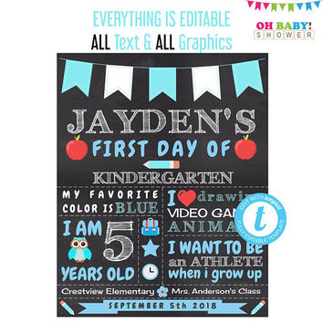 First Day of School Chalkboard, 1st Day of School Template, Reusable, ANY AGE & GRADE, Kindergarten Back to School Sign 16x20 8x10, bts