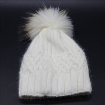 ZSherelli Cashmere and Pearl Hat with Detachable Pom (More Colors!)