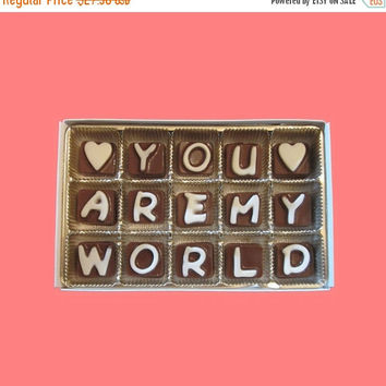 Anniversary Gift for Men Boyfriend Women Girlfriend Him Her Valentines You Are My World Cubic Chocolate Love Message Letter Unique Romantic