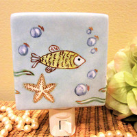 Night Light Lighting Fish Plug in Lamp Porcelain Ceramic Hand Painted blm