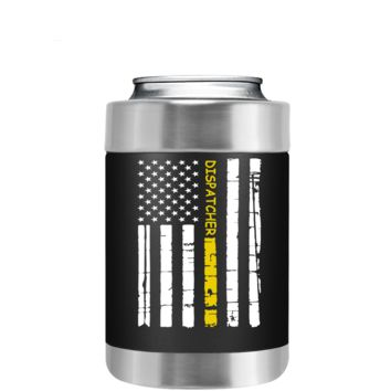 Dispatchers Distressed Horizontal Gold Line Flag on Black Can Cooler