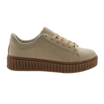 Caleb02 Natural By Wild Diva, Lace Up Sneaker w Rubber Texture Ridges Thick Platform Sole
