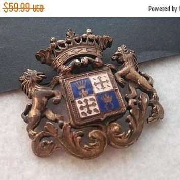 On Sale Vintage Crown Crest Lion Shield Coat Of Arms Brooch, Fluer de lis Pin, 1960's Collectible Jewelry, Scotland Celtic Starburst Pin