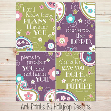 Nursery Decor Jeremiah 29:11 Purple Green Wall Art Girls Bedroom Decor Inspirational Nursery Quote Baby Girls Room Girl Nursery Decor 0704