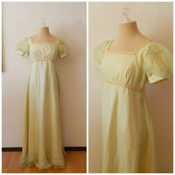 Vintage 70s Maxi Bridesmaid Lemon Lime Chiffon Pouf Sleeve Empire Waist Dress XSmall