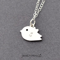 cute bird initial necklace, sterling silver, monogram, bird initial necklace, Bridesmaid Gift
