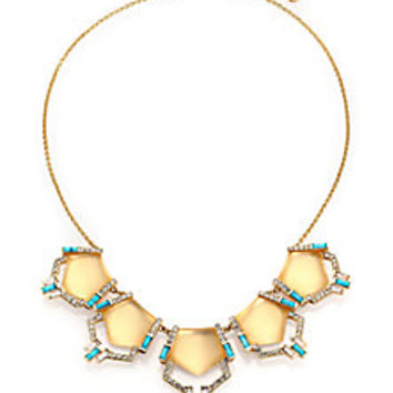 Alexis Bittar - Phoenix Deco Lucite, Turquoise Howlite & Crystal Articulated Bib Necklace - Saks Fifth Avenue Mobile
