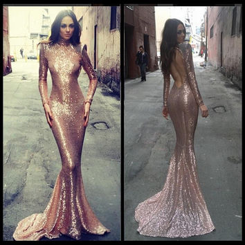 Long Tight Fishtail Sequin Prom Dress Long Sleeves Cutout Back High Neck Mermaid Sparkling Formal Gown Custom Made