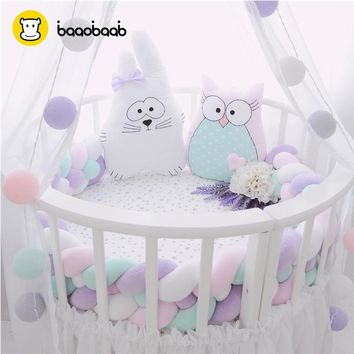 BAAOBAAB CW05 3 Meters 4 Braids Design Soft Baby Bed Bumper 3M Newborn Crib Pad Protection Bumpers Bedding Crib Sides for Infant