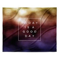 "Galaxy Eyes ""Good Day"" Rainbow Fleece Throw Blanket"